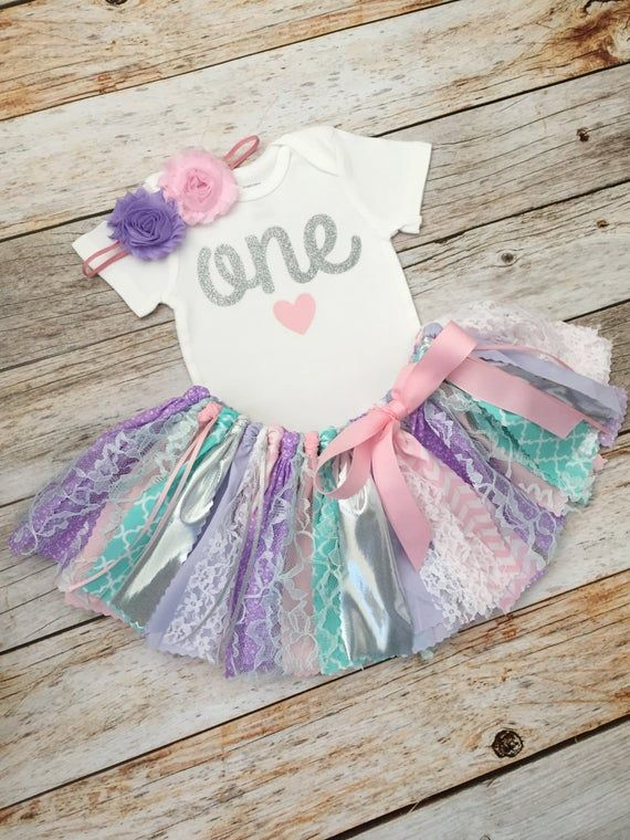 Pink Purple Aqua and Silver Birthday Outfit with Headband, Pink Purple and Aqua First Birthday, Pink