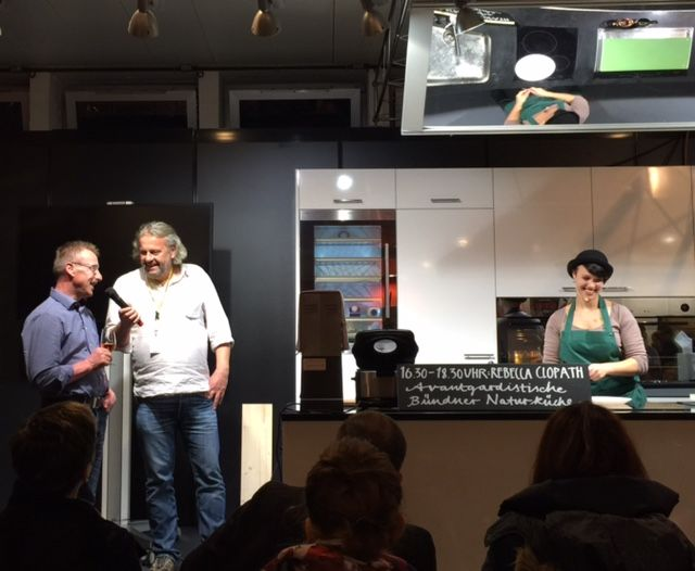Chef Rebecca Clopath at the Show Kitchen with Dominik Flammer & Willi Schmid http://newinzurich.com/2015/11/slow-food-market-in-photos/