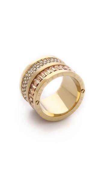 Michael Kors Pave & Baguette Barrel Ring
