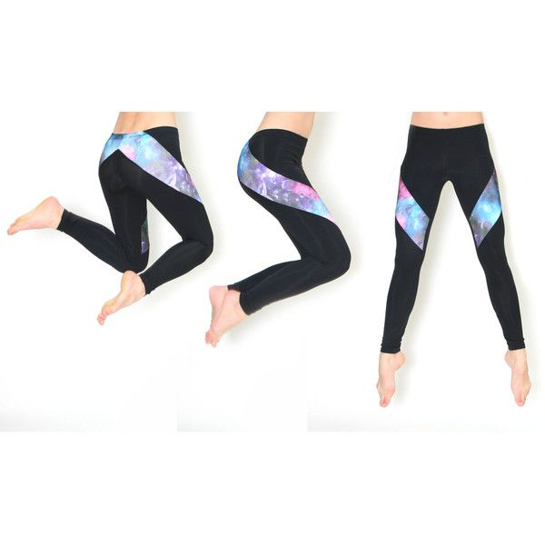 Galaxy Leggings Slash Style Hand Made Leggings ($57) ❤ liked on Polyvore featuring pants, leggings, white legging pants, white trousers, space print leggings, galaxy pants and galaxy print leggings