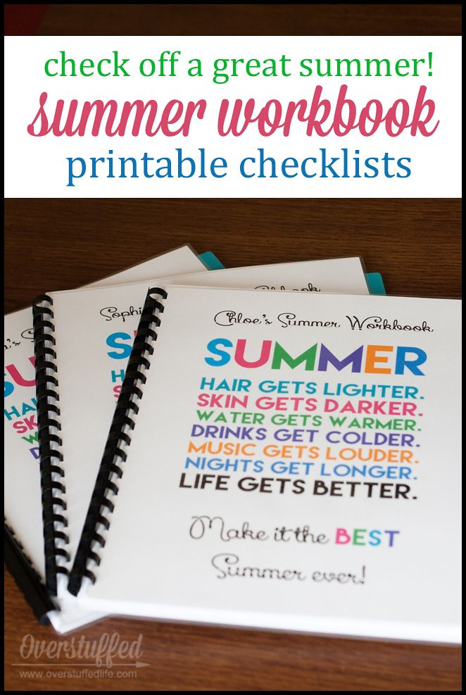 Limit electronic usage this summer by using a fun workbook that helps your kids read, exercise, practice, and do jobs before they look at screens. Also helps them with goal setting for the summer. #overstuffedlife