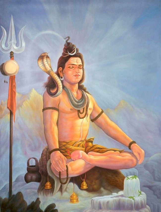 Shiva (शिव) is a major Hindu deity, and is the Destroyer or Transformer among the Trimurti, the Hindu Trinity of the primary aspects of the divine. He is regarded as the most powerful god in hinduism. Shiva is a yogi who has notice of everything that happens in the world and is the main aspect of life. Yet one with great power, he lives a life of a sage at Mount Kailash.Shiva is the Supreme God and has five important works: creator, preserver, destroyer, concealer, and revealer