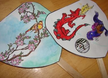 Japanase Fan: cardstock, glue, tongue depressor, colored pencils, watercolors. This was a huge success with my new-8 year old; she said she  liked the delicate art of the cherry blossoms and warbler. She completed the art in one session; it dried overnight, then mom cut out and glued, leaving it to dry overnight. This turned out like the photo! We did this at the beginning of our study to assure enough time to complete.