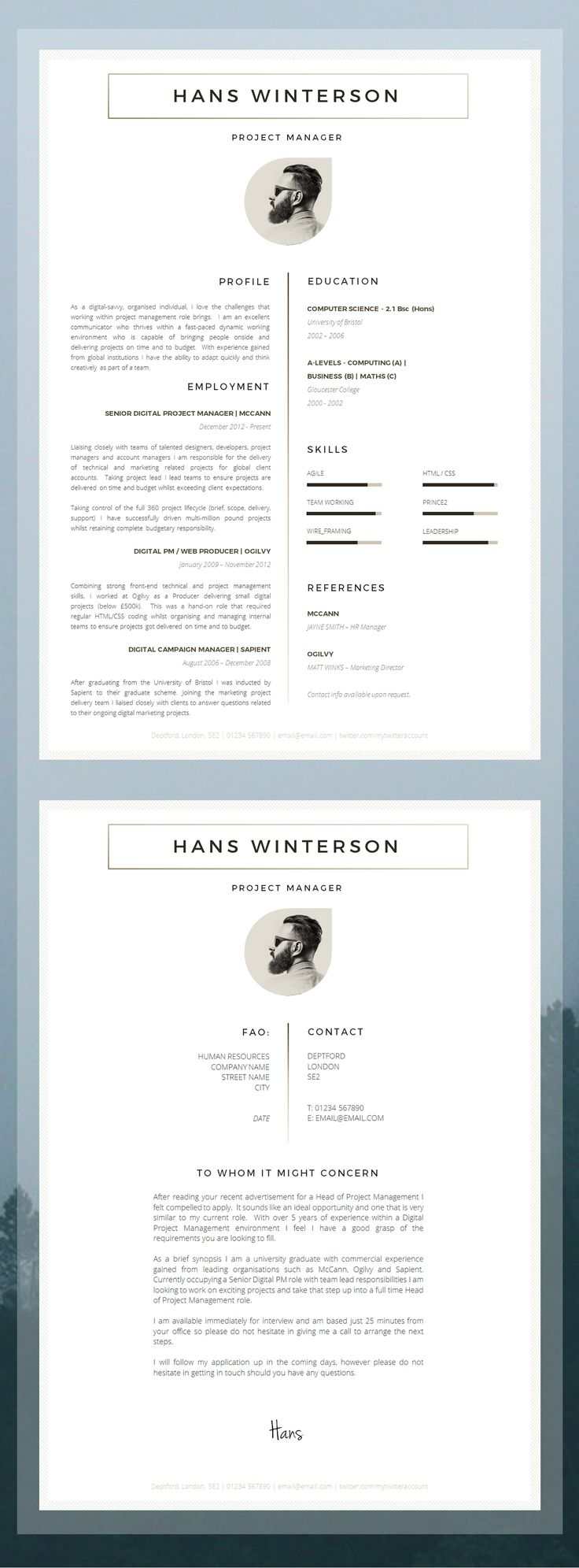"CV Template | Résumé Template for Word + Cover Letter + Advice | 1 & 2 Page CV Templates Included | Instant Download | Mac or PC | ""Holborn"""
