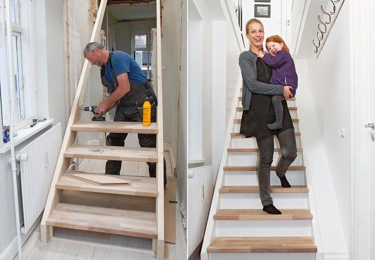 Glem alt om dyre byggesett og en håndverker. Her kan du se hvordan du enkelt og raskt bygger en flott trapp, og samtidig sparer en mindre formue.