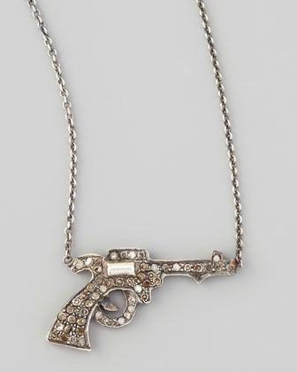Pave Diamond Gun Pendant Necklace - Neiman Marcus