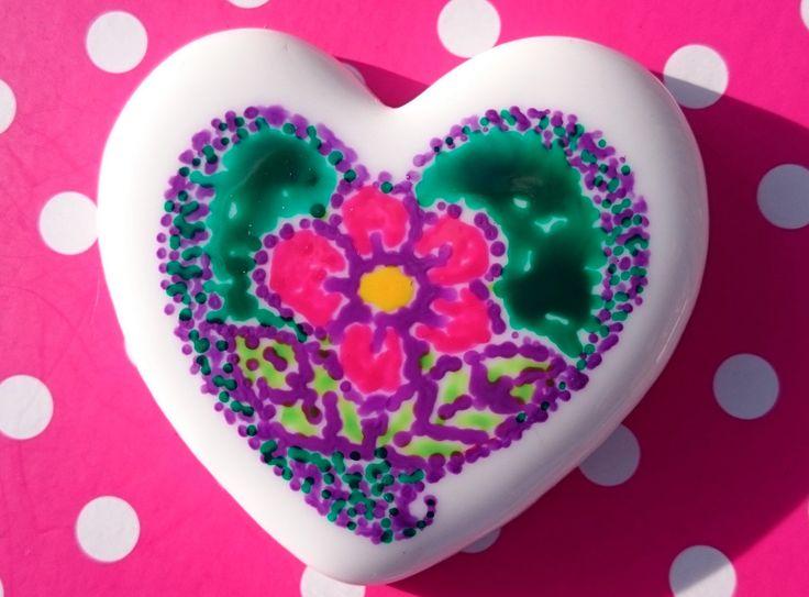 Little Hearts #17: handpainted art on a little white heart by TheBigLittleArtShop on Etsy