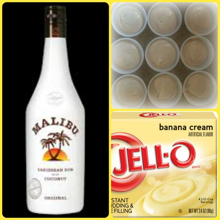 Coconut Banana Pudding Shots  1 small Pkg. banana cream instant pudding ¾ Cup Milk 3/4 Cup Malibu Rum 8oz tub Cool Whip  Directions 1. Whisk together the milk, liquor, and instant pudding mix in a bowl until combined. 2. Add cool whip a little at a time with whisk. 3.Spoon the pudding mixture into shot glasses, disposable shot cups or 1 or 2 ounce cups with lids. Place in freezer for at least 2 hours