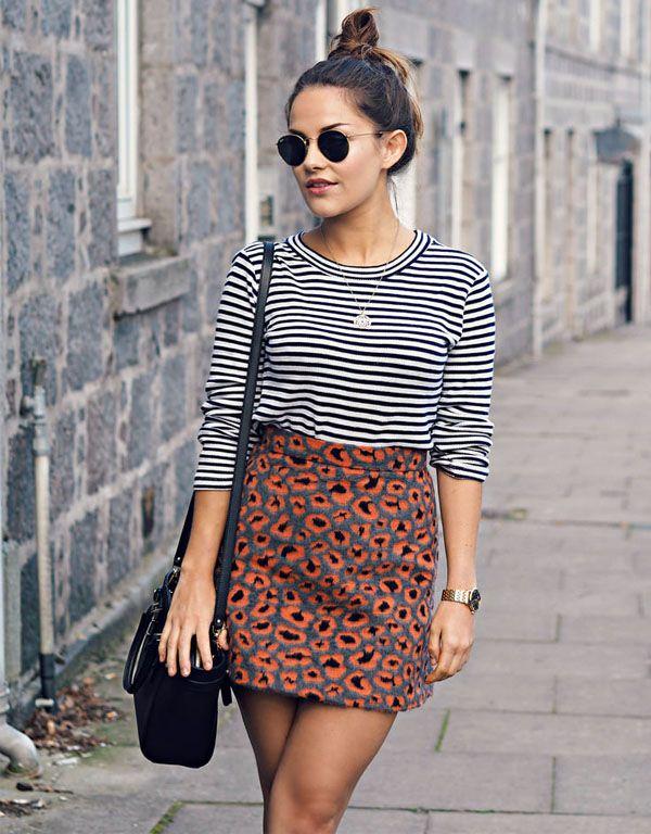 Look fashion - blusa listrada preto e branco + saia animal print