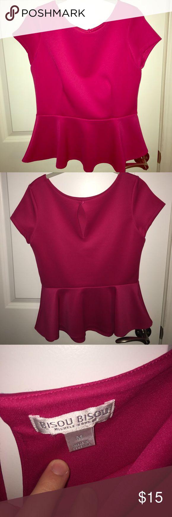 Pink Peplum Dress Shirt Gently used Women's peplum dress shirt. Size M. Bisou Bisou Tops Blouses