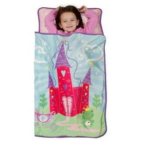 "Princesses and Castles are what your Toddler's dreams are made of. The Baby Boom Little Princess Nap Mat is the perfect way to get to dream land. The Baby Boom ""Little Princess"" Toddler Nap Mat is the perfect Toddler size, 46"" l x 21""w. The padded mat includes an attached blanket, and super soft attached blanket. Rolls up and easy to carry. The name window makes it yours. Castles and Coaches are in your dreams. 100% Polyester, Machine washable."