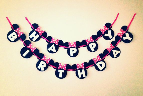 Simple Minnie Mouse Birthday Banner - Red or Pink Bow - Zebra - White Letters - Mickey Mouse Font - Mickey Mouse Banner on Etsy, $19.50