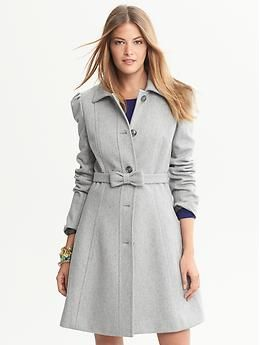 Grey Fit-and-Flare Bow Coat.