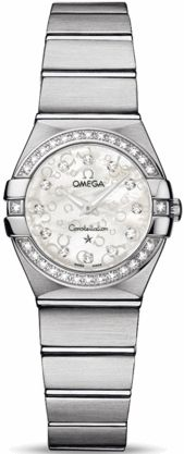 123.15.24.60.55.005   NEW OMEGA CONSTELLATION LADIES MINI WATCH  Usually ships within 8 weeks - FREE Overnight Shipping- NO SALES TAX (Outside California)- WITH MANUFACTURER SERIAL NUMBERS- White Mother of Pearl Diamond Dial - Diamonds Set on Bezel - Battery Operated Quartz Movement- 3 Year Warranty - Guaranteed Authentic - Certificate of Authenticity - Manufacturer Box