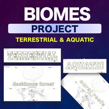 NO PREP this Biomes Project Activity is designed with structured outlines for both terrestrial and aquatic environments: These Biome Project outline sheets are for students to add details on the plants, animals, climate, location and soil for each biome.