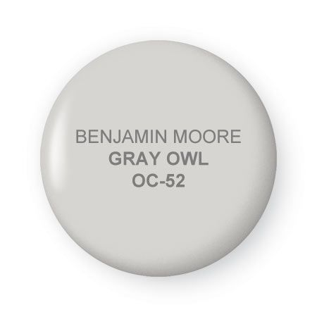 "BM Gray Owl ""Super classic and sophisticated, but not boring AT ALL. It's a very, very warm gray – meaning that its still a cool tone because its gray, but has more yellow in it than blue so it doesn't feel crazy blue. Most of you who have experimented with gray's know that they go blue very, very fast"" – Emily Henderson"