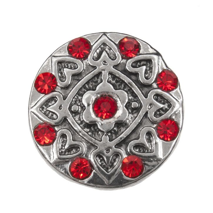 Snap! Metal with Stones Interchangeable Fastener Round With Hearts 19MM Red Antique Nickel 1pc Off Price Policy - 4005-0104-001 - Club Bead Plus