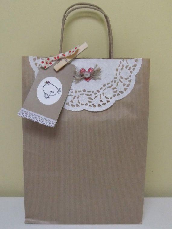 Hen Brown Paper Gift Bag
