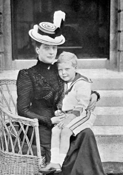 "Queen Alexandra with grandson Prince Edward. ""I visited my grandmother every evening just to have a talk with her, play patience or do a jigsaw. She was always late, for dinners, church, trains and even worse, at ceremonies. The story goes that she even was late to her own coronation, and that my grandfather the King came in to her dressing room (with his watch in his hand) saying, ""Dear Alix, if you're not coming right now you're not going to be crowned as Queen"". ~The Duke of Windsor"