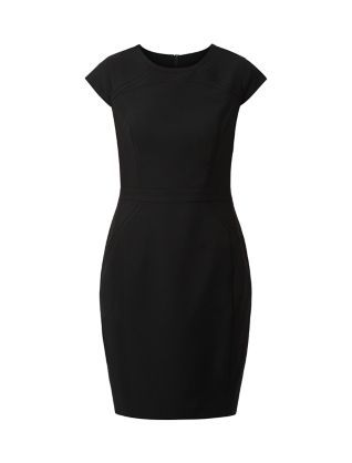 Every work wardrobe needs a Black Stretch Cap Sleeve Dress - and this one elegantly does the job.