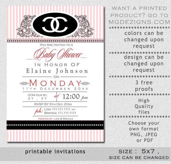 Chanel bridal shower invitations red filmwisefo