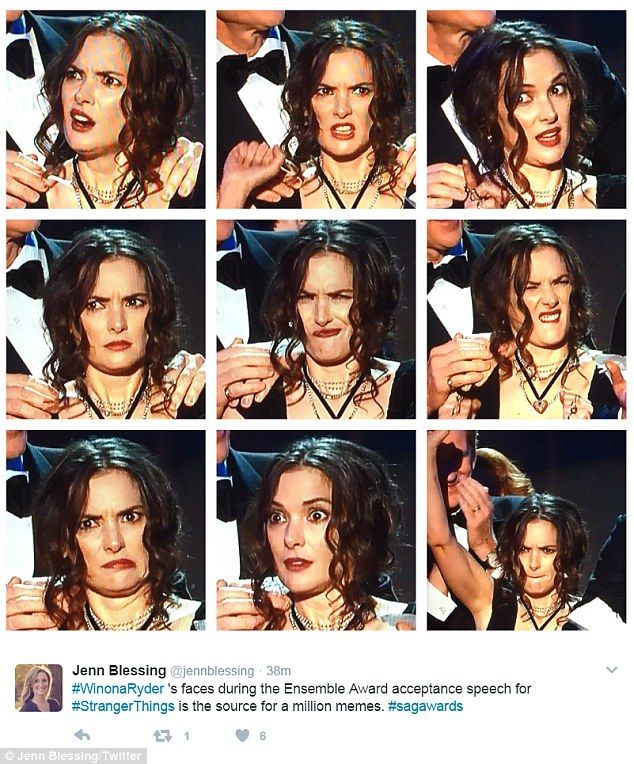 2017 SAG Awards - Winona Ryder's multitude of expressions set social media alight during her fellow actor's passionate speech...cast win Ensemble cast in a drama (Stranger Things)