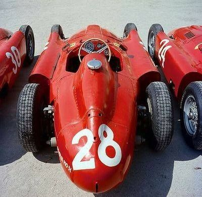 Grand Prix d'Italie - Monza 1956 (Lancia-Ferrari D50) N°24 Eugenio Castellotti, N°28 Luigi Musso & N°30 Alfonso de Portago. (ph. Tumblr) - source UK Racing History.