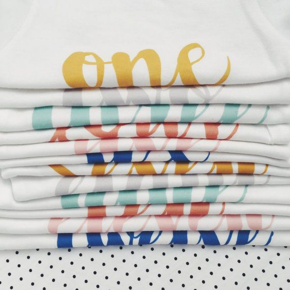 MONTH BY MONTH  Printed Onesies for Baby's First Year by HENANDCO