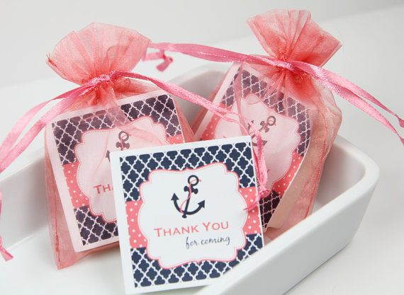 Nautical Baby Shower Baby Shower Favors Coral and Navy by TubTime