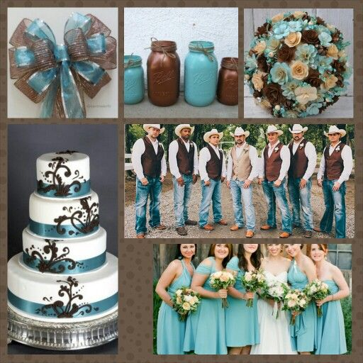 Blue and brown country wedding  BlueBrown Country Wedding in 2019  Boquette wedding Cowboy