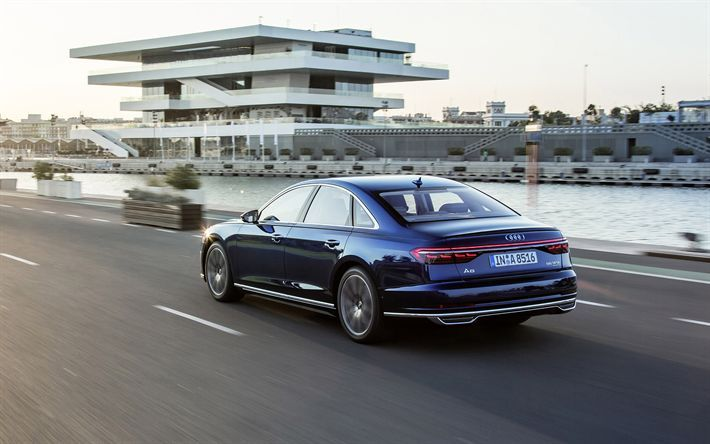 Download Wallpapers Audi A8 2019 4k Rear View New Blue A8 Business Class Exterior Blue Luxury Sedan German Cars Audi A Audi A8 Audi Luxury Sedan