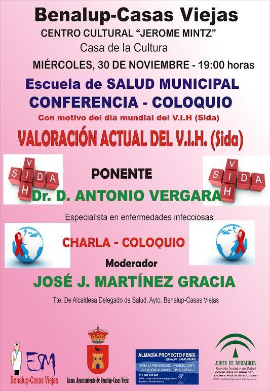 Cádiz (Benalup-Casas Viejas).- El Ayuntamiento de Benalup-Casas Viejas, a través de la Escuela de Salud Municipal, y con la colaboración del Distrito Sanitario Bahía de Cádiz-La Janda y de la Asociación Almadia Proyecto Fénix de la localidad, han organizado una conferencia-coloquio sobre el virus del SIDA (VIH).