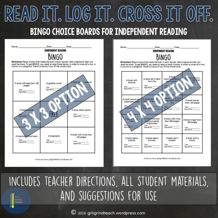 Do your middle school students struggle with choosing books to read independently? Gamify choice reading with these bingo style choice boards for independent reading. Read it. Log it. Cross it off.