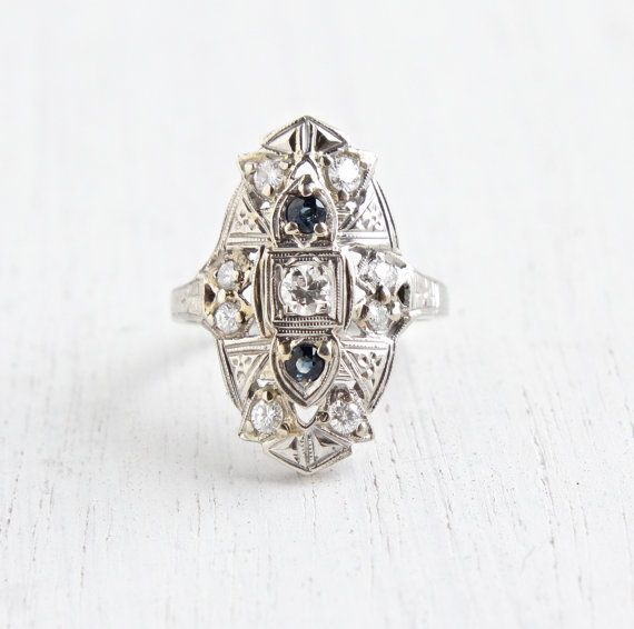 Antique 14K White Gold Diamond & Sapphire Shield Ring - Vintage Art Deco 1920s Size 5 Filigree 1/3 CTW Fine Jewelry by Maejean Vintage on Etsy, $650.00