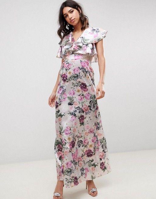 196bdba3faef5 Image 1 of ASOS DESIGN lace insert ruffle maxi dress in pretty floral print