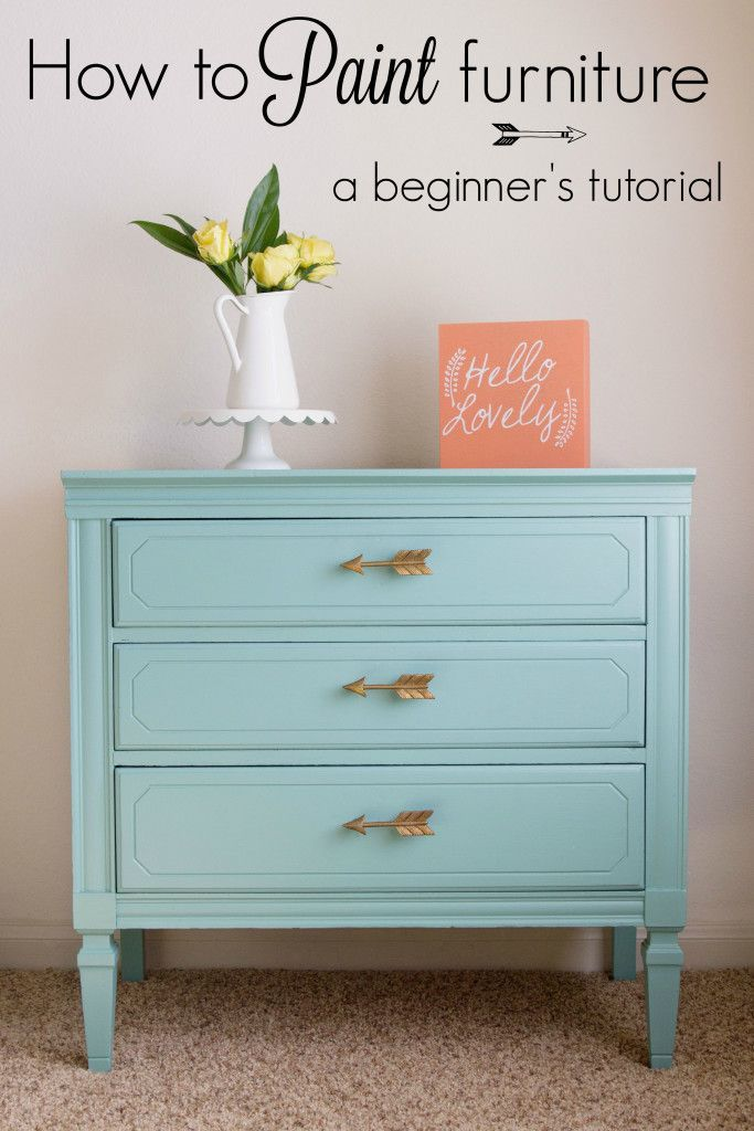 How to paint furniture with General Finishes Milk Paint; custom color with 2 parts Halcyon Blue and 1 part Lime Green