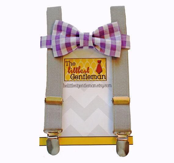 lavender gingham boy bow tie suspeders set, purple plaid bow tie suspenders set,baby boy suspenders, wedding bow tie suspenders set