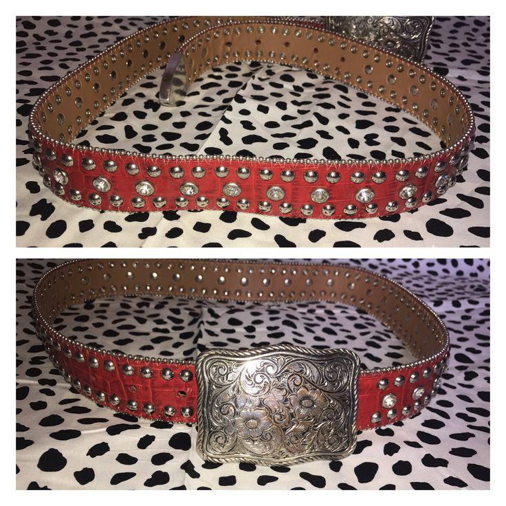 Belt buckle amd vintage cowboy red bling belt by PooksSouthernVintage on Etsy https://www.etsy.com/listing/518808800/belt-buckle-amd-vintage-cowboy-red-bling