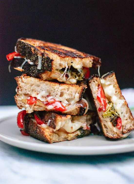 Balsamic roasted broccoli, red pepper and onion grilled cheese sandwiches…