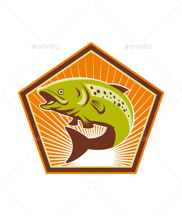 Retro Trout Fish Jumping
