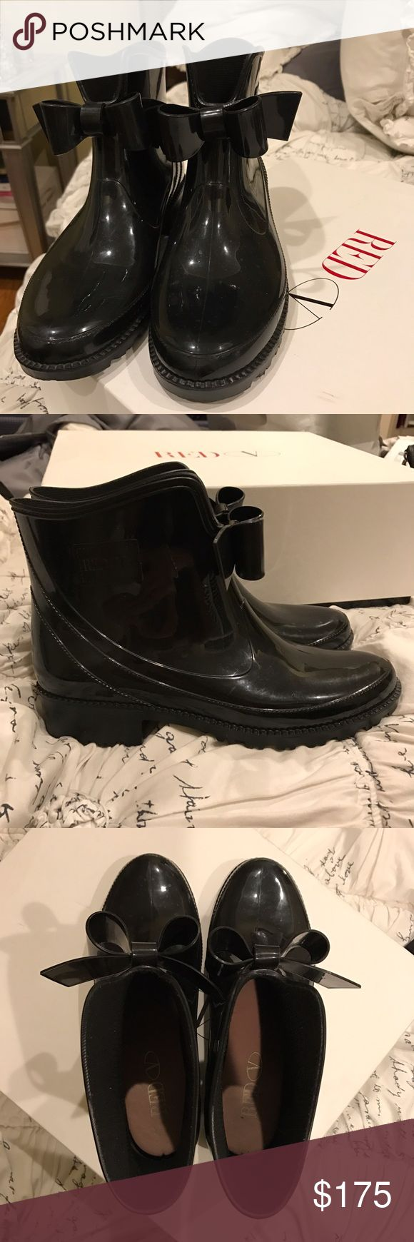 VALENTINO rain boots size 38 BARELY worn Durable black Valentino Red rain boots. Size 38. Barely worn. Authenticity guaranteed. RED Valentino Shoes Winter & Rain Boots