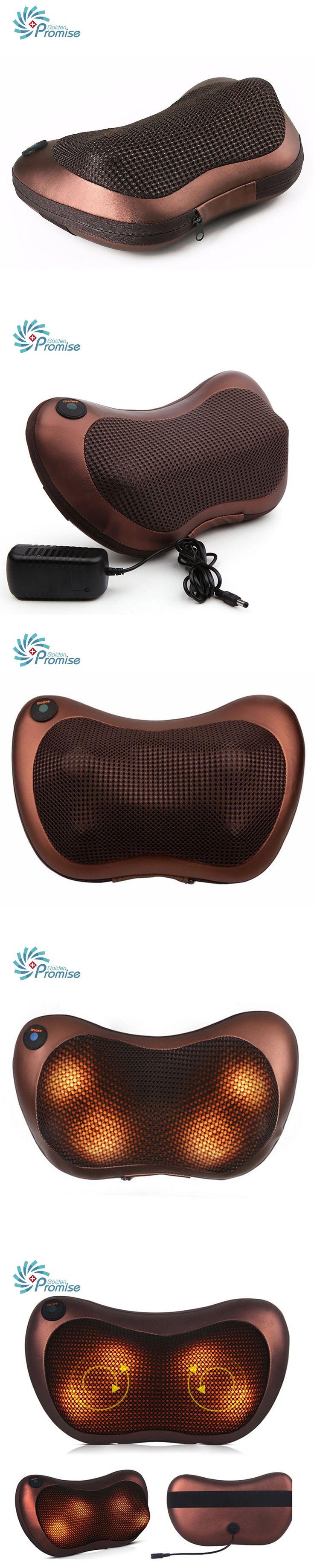 GPYOJA Home Car Dual-use Massage Pillow Electric Infrared Heating Kneading Cervical Neck Shoulder Back Body Spa Shiatsu Massager