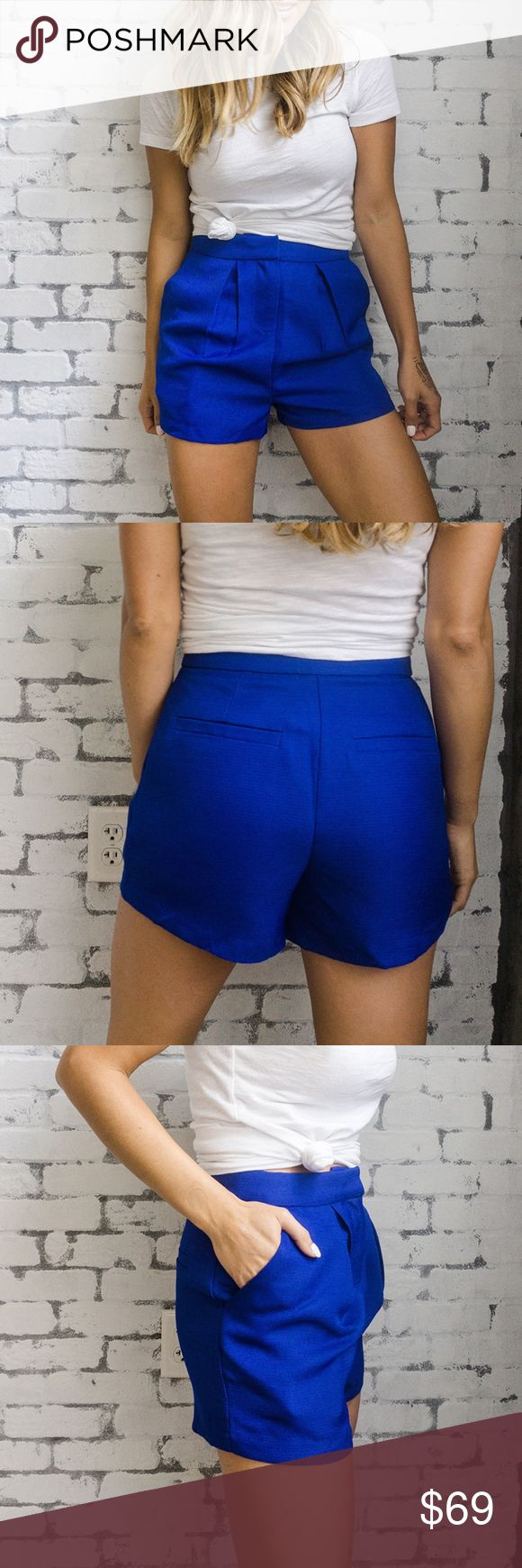 "English Factory Cobalt blue shorts These beautiful cobalt blue shorts are a bold but stunning.   Details and fit:  Self: 100% Polyester  Lining: 100% Polyester Inseam: 2"" Hand wash, line dry. Imported. Fits true to size, wearing an XS English Factory Shorts"