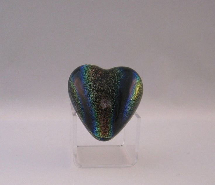 Valentine's Day - Robert Held Rainbow Dichroic Small Heart Shaped Paperweight #RobertHeld