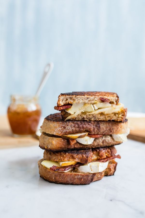 Grilled Brie with Bacon and Pear