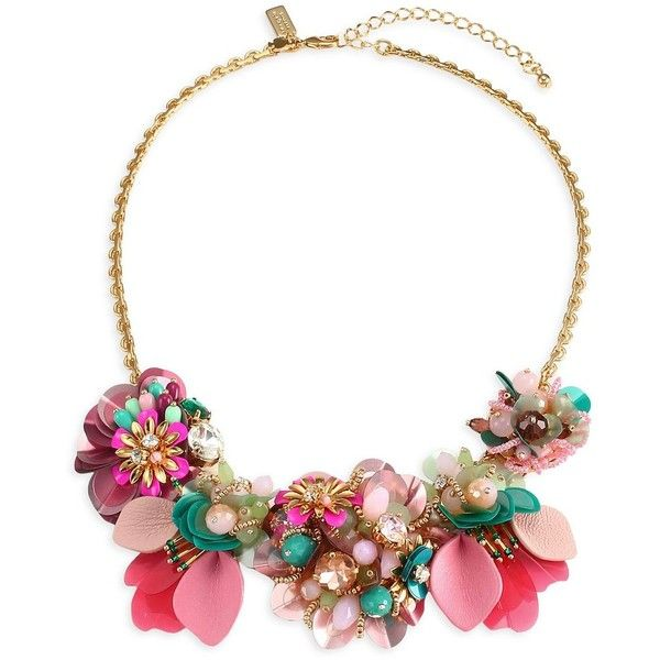 Kate Spade New York Vibrant Life Floral Necklace 148 Liked On Polyvore Featuring Jewe Floral Necklace Leather Statement Necklace Floral Statement Necklace