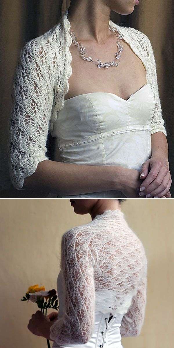 Free Knitting Pattern for Wedding Bolero - Lace shrug knit ...