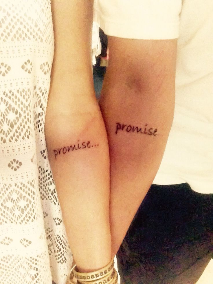 "My husband and I officially got our ""Promise Promise"" couples tattoo! That's always been the thing we say! #couplestattoos #armtattoo"