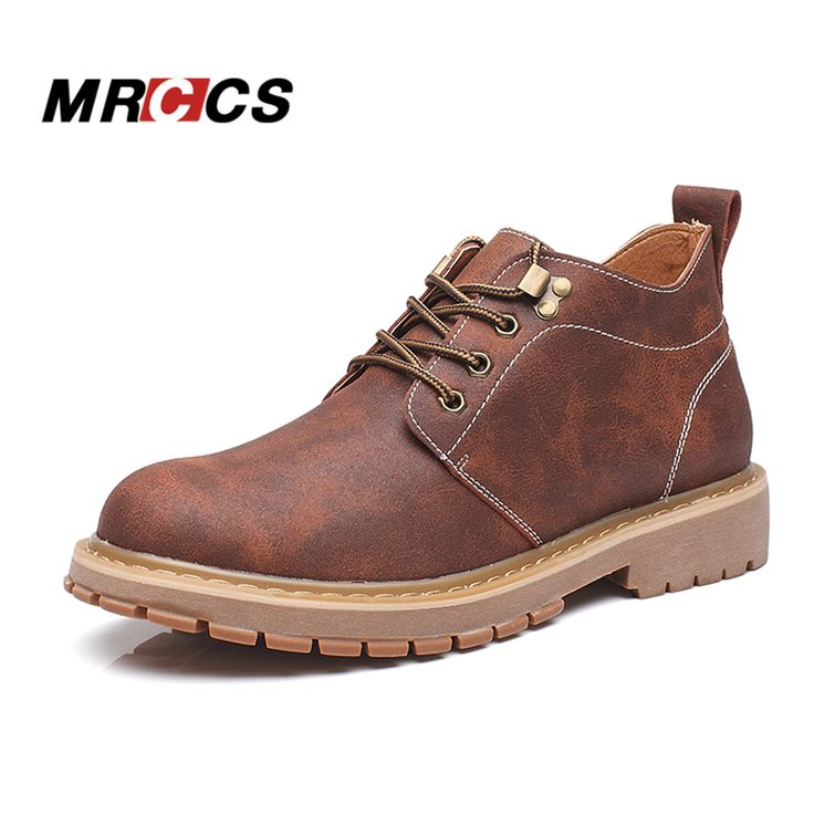 MRCCS Vintage Leather Work Boots for MenThick Rubber Sole Tooling ShoesAutumn Single/Winter Snow Boots With Short Plush Fur -- AliExpress Affiliate's buyable pin. Click the image to visit www.aliexpress.com