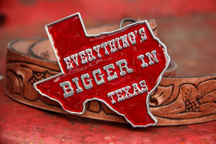 That's right, y'all! We like big hair, big tires, & those biggo Texas skies! You may not live in Texas but you can let your inner redneck run wild with our authentic 'everything's bigger in Texas' belt buckle!Complete with all our favorite Texas lingo printed on the back! What a deal! It's a fashion statement and a dictionary...all right there on your belt! Red enamel & pewter buckle